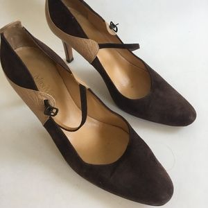 MaxMara Suede/Leather Mary-Jane Heels
